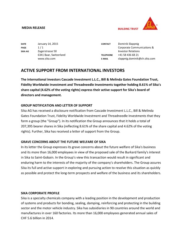 Active Support from International Investors