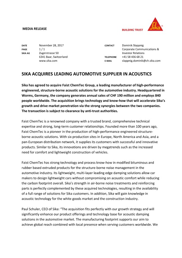 Sika Acquires Leading Automotive Supplier in Acoustics